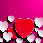 red and white hearts on pink background